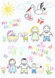 Glückliche Familie mit einem neugeborenen stock abbildung