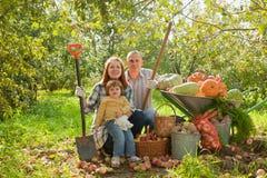 Glückliche Familie mit Gemüseernte Stockfotos