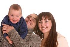 Glückliche Familie mit kleinem Jungen. stockfoto