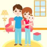 Glückliche Familie mit neugeborenem Schätzchen Lizenzfreie Stockfotografie