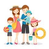 Glückliche Familie mit Sommer-Reise Lizenzfreies Stockbild