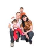 Glückliche Familie mit zwei Kindern stockfotos