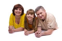 Glückliche Familie. Mutter, Vater und Tochter stockbild