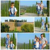 Glückliche Familie in Toskanerem Stockfotos