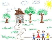 Glückliche Familie und ihr Haus stockfotos