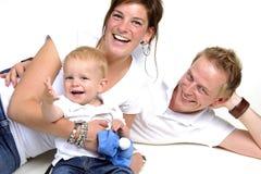Glückliche Familie. Vater, Mutter und kleiner Junge stockfoto