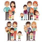 Glückliche Familie Verhältnis-Generationsgesellschaft der Schwester des Familienmuttervaterjüngeren bruders flacher Zeichensatz d stock abbildung