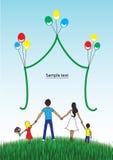Glückliche Familie zusammen auf Natur Stockbild