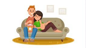 Glückliche Familien-aufpassender Fernsehvektor Person Sitting On The Couch und zu Hause sich entspannen Familienfreizeit On-line- Vektor Abbildung