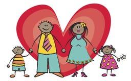 Glückliche Familien-dunkler Haut-Ton Stockbilder