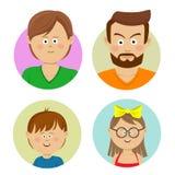 Glückliche Familien-Gesichter Flache Avataras des Vektors Stockfotografie