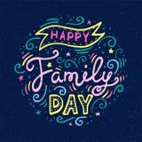 Glückliche Familien-Tagesbeschriftung Vektorillustration auf blauem Hintergrund vektor abbildung