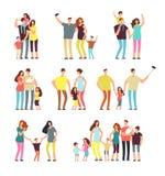 Glückliche Familiengruppen Erwachsener erzieht die Paare, die mit den lokalisierten Kindervektor-Karikaturleuten spielen stock abbildung