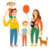 Glückliche Familienkarikaturillustration Stockfoto
