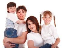 Glückliche Familienmutter, -vater und -kinder. Stockfoto