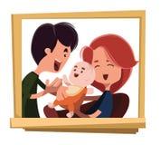 Glückliche Familienporträt-Illustrationszeichentrickfilm-figur stock abbildung