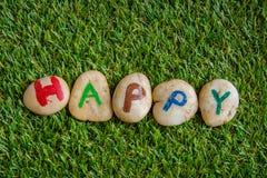 Glückliche Farbe auf Stein, auf dem Gras Stockfotografie
