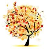 Glückliche Feier, lustiger Baum mit Feiertagssymbolen Stockfoto