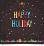 Glückliche Feiertagskarte mit Geschenk und Buchstabe in süßem s Stockfotografie