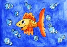 Glückliche Fische, die mit Blasen spielen Lizenzfreie Stockbilder