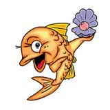 Glückliche Fische gefundene Perlen vektor abbildung