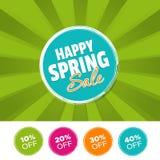 Glückliche Frühlings-Verkaufsfarbefahne und 10%, 20%, 30% u. 40% weg von den Kennzeichen Auch im corel abgehobenen Betrag Stockbild
