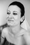 Glückliche Frau auf Hochzeitstag stockbilder
