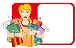 Glückliche Frau auf Verkauf Lizenzfreie Stockfotos
