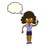 glückliche Frau der Karikatur mit Idee mit Gedankenblase Lizenzfreie Stockbilder