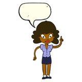glückliche Frau der Karikatur mit Idee mit Spracheblase Stockfoto