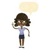 glückliche Frau der Karikatur mit Idee mit Spracheblase Lizenzfreie Stockfotos