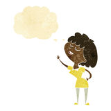 glückliche Frau der Karikatur ungefähr, zum mit Gedankenblase zu sprechen Stockbild