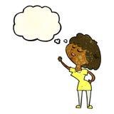 glückliche Frau der Karikatur ungefähr, zum mit Gedankenblase zu sprechen Stockfotografie