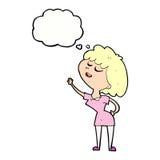 glückliche Frau der Karikatur ungefähr, zum mit Gedankenblase zu sprechen Lizenzfreies Stockfoto