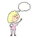 glückliche Frau der Karikatur ungefähr, zum mit Gedankenblase zu sprechen Lizenzfreie Stockbilder