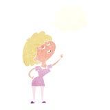glückliche Frau der Karikatur ungefähr, zum mit Gedankenblase zu sprechen Stockfoto