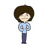 glückliche Frau der komischen Karikatur Lizenzfreie Stockfotografie