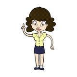 glückliche Frau der komischen Karikatur mit Idee Lizenzfreie Stockfotografie