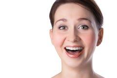 Glückliche Frau des Nahaufnahmeportraits recht Stockbild