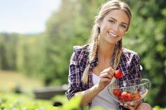 Glückliche Frau, die frische Erdbeeren im Garten sammelt stockfoto