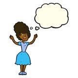 glückliche Frau fünfziger Jahre der Karikatur mit Gedankenblase Lizenzfreies Stockfoto