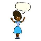 glückliche Frau fünfziger Jahre der Karikatur mit Spracheblase Stockfotografie