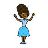 glückliche Frau fünfziger Jahre der komischen Karikatur Stockbilder