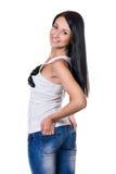 Glückliche Frau getrennt auf weißem Hintergrund Stockfotos