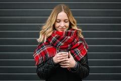 Glückliche Frau mit einem Schal Herbst Herbstporträt des schönen Mädchens Lizenzfreie Stockfotografie