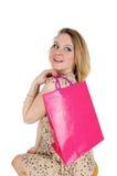 Glückliche Frau mit Einkaufstasche Lizenzfreies Stockfoto