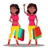 Glückliche Frau mit Einkaufstaschen nach Einkaufsvektor Getrennte Abbildung vektor abbildung