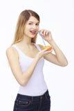Glückliche Frau mit Frucht Lizenzfreie Stockfotos