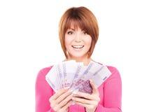Glückliche Frau mit Geld Stockfotos