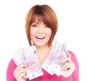 Glückliche Frau mit Geld Lizenzfreie Stockfotografie